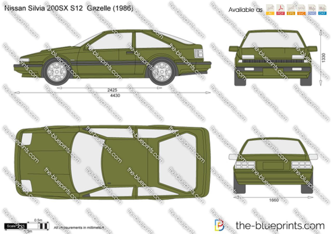 Nissan Silvia 200SX S12 Gazelle vector drawing