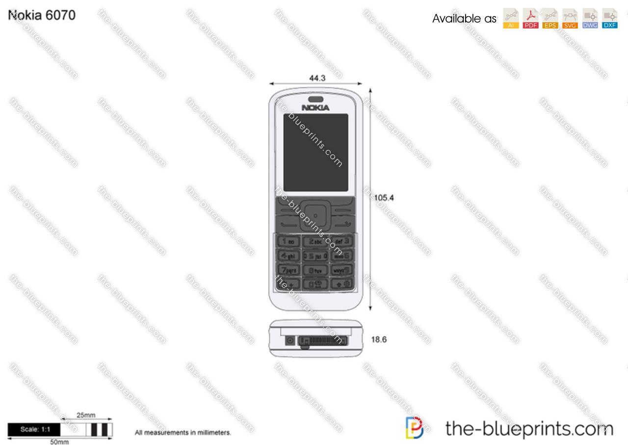 Nokia 6070 vector drawing