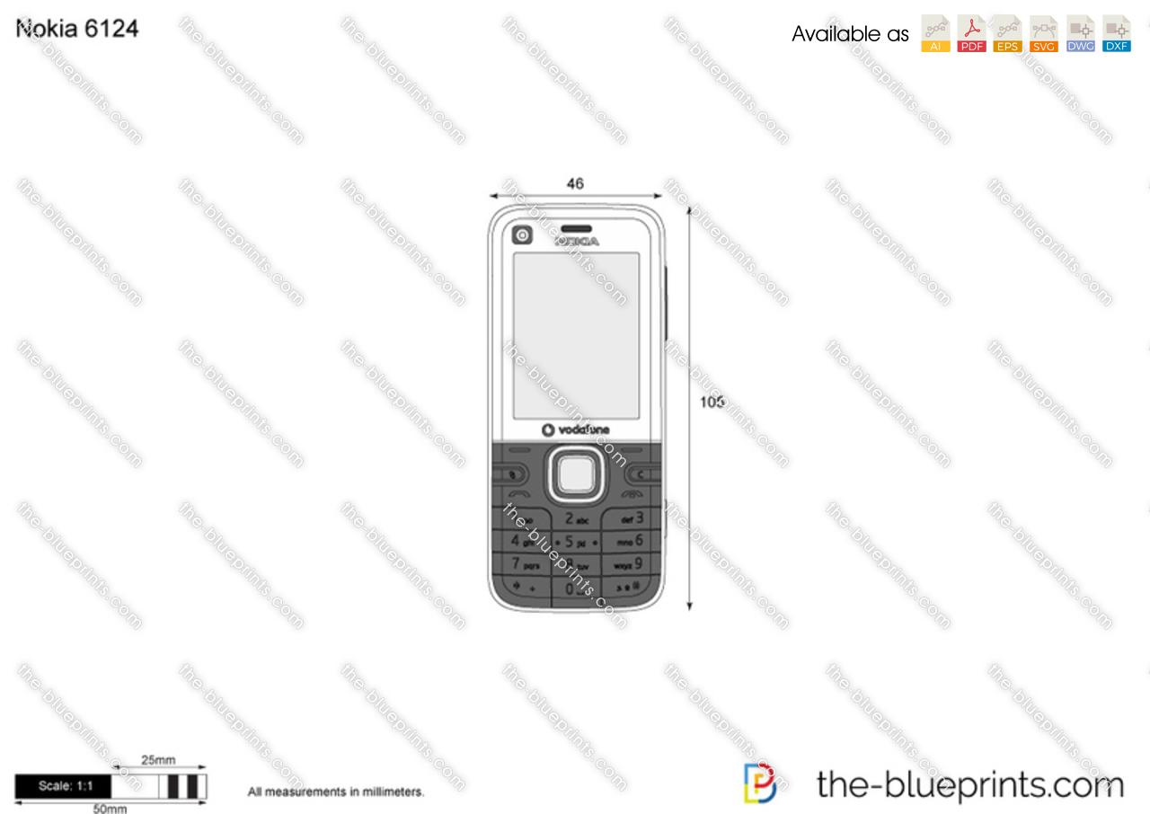Nokia 6124 vector drawing
