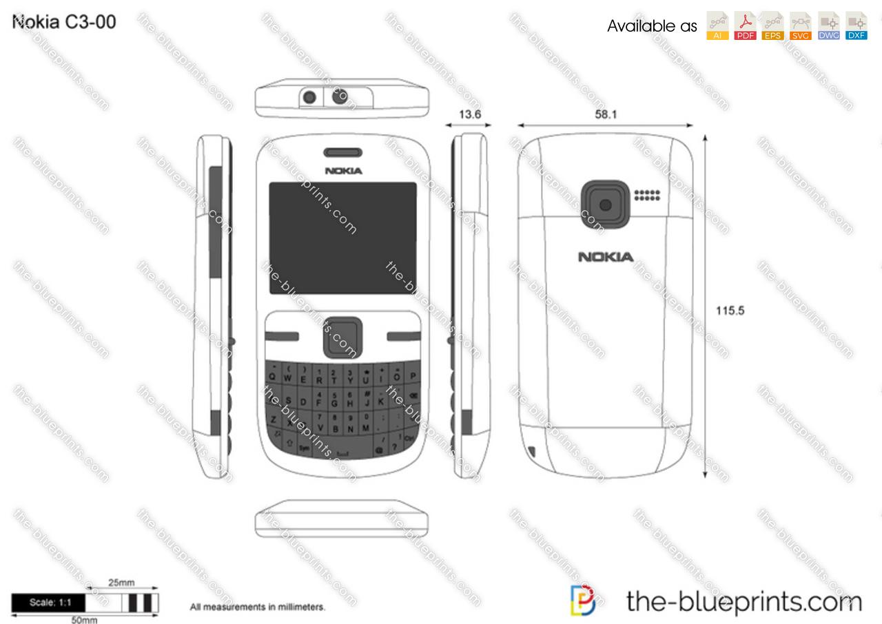 Nokia C3-00 vector drawing