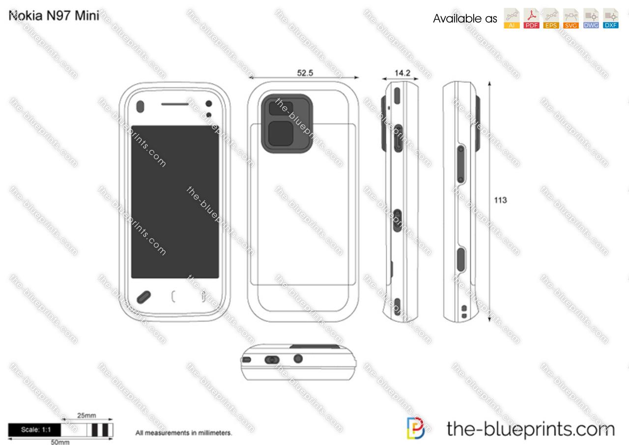 Nokia N97 Mini vector drawing