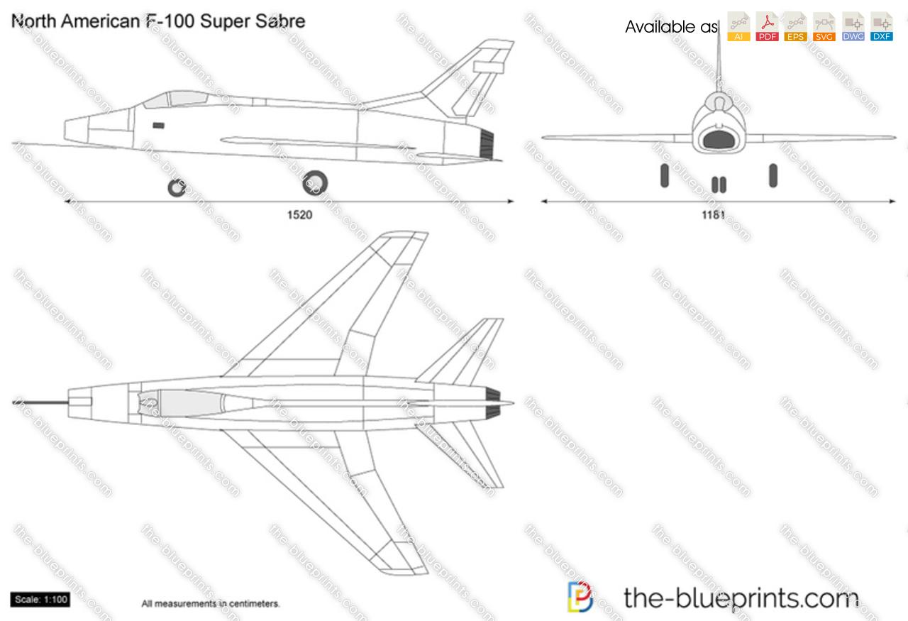 North American F-100 Super Sabre vector drawing