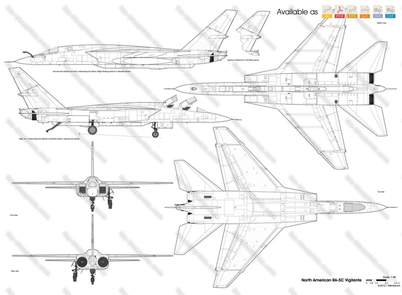 North American RA-5C Vigilante vector drawing