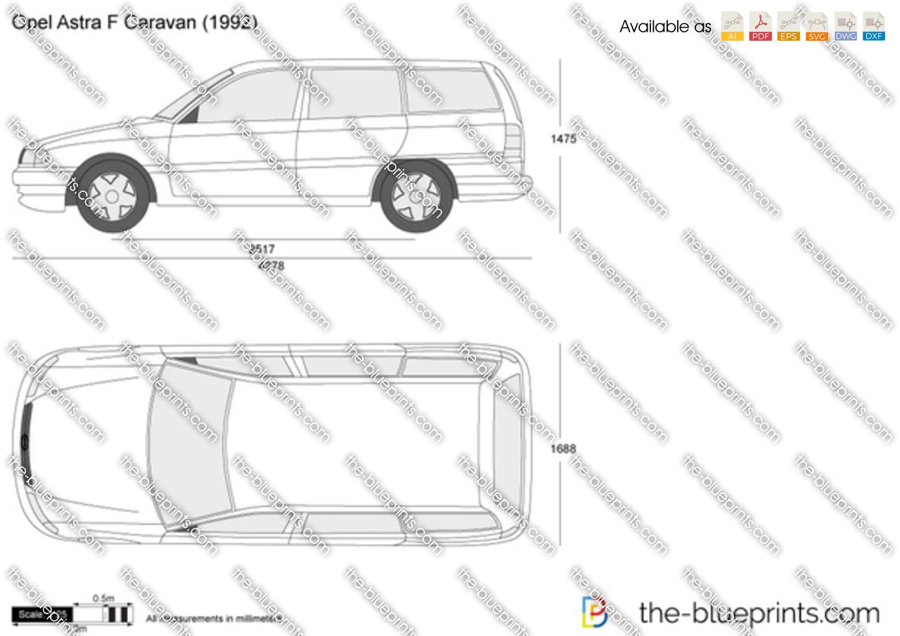 Opel Astra F Caravan vector drawing