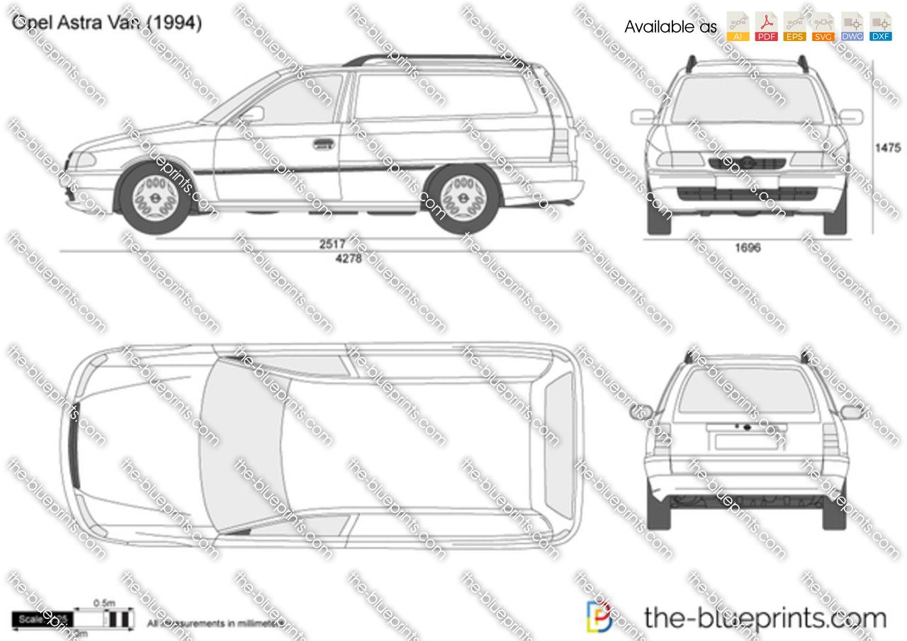 Opel Astra F Van Vector Drawing