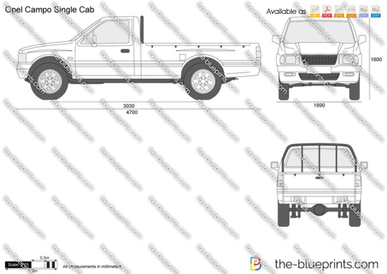 Opel Campo Single Cab vector drawing