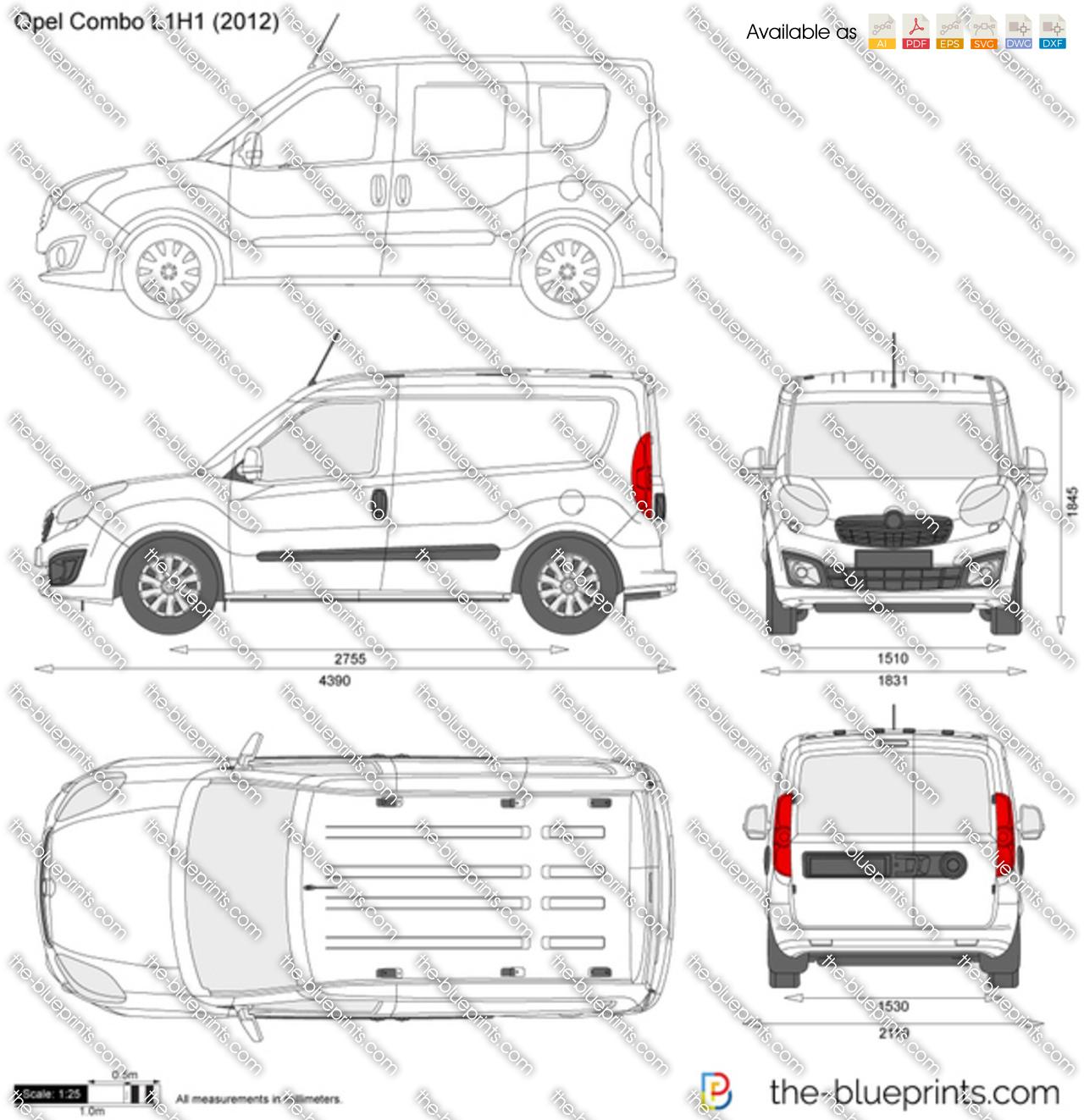 Opel Combo D L1h1 Vector Drawing