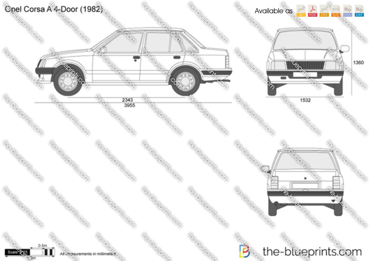 Opel Corsa A 4-Door vector drawing