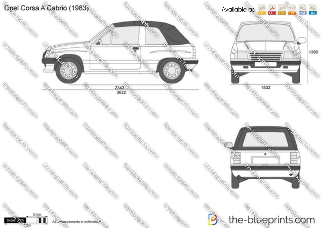 Opel Corsa A Cabrio vector drawing
