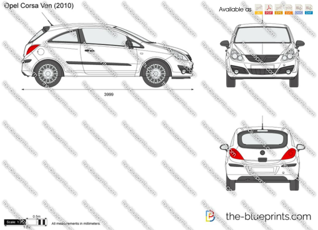 Opel Corsa D Van Vector Drawing
