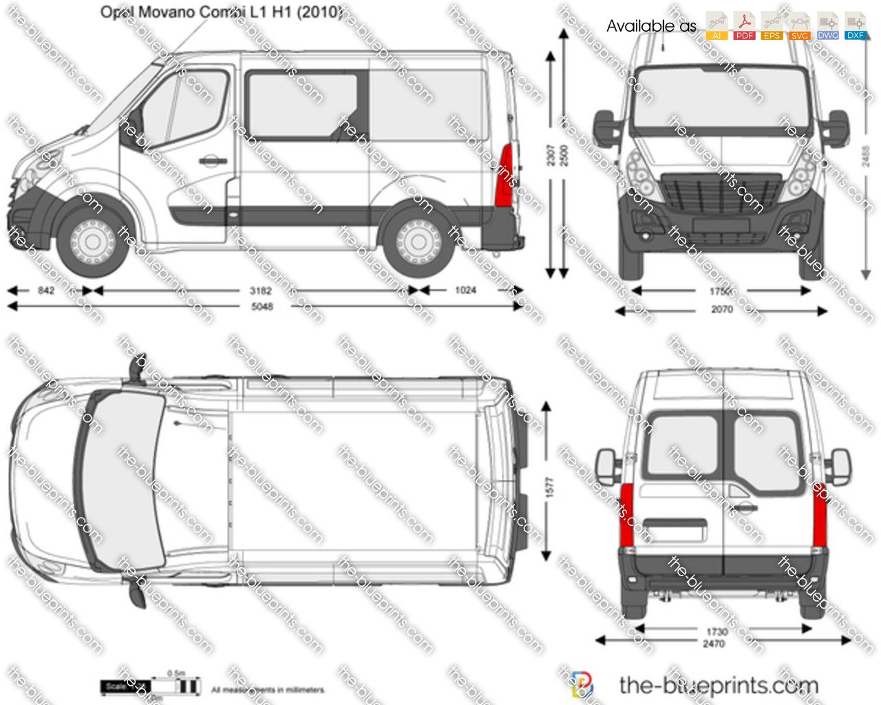 Opel Movano Combi L1 H1 vector drawing