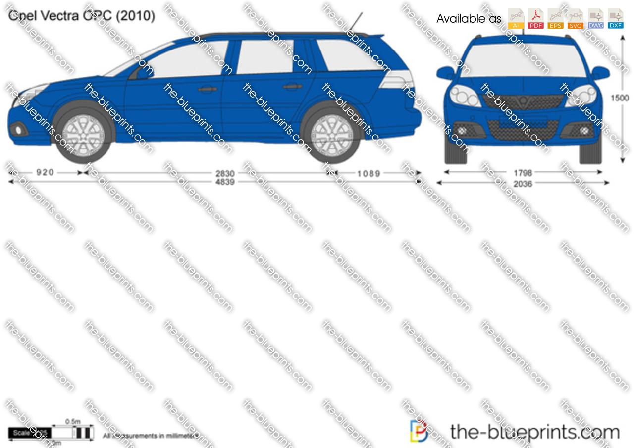 Opel Vectra Wagon OPC vector drawing