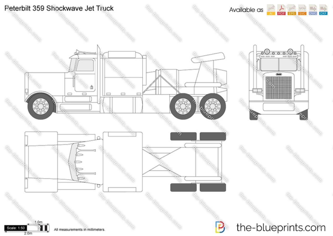 Peterbilt 359 Shockwave Jet Truck Vector Drawing