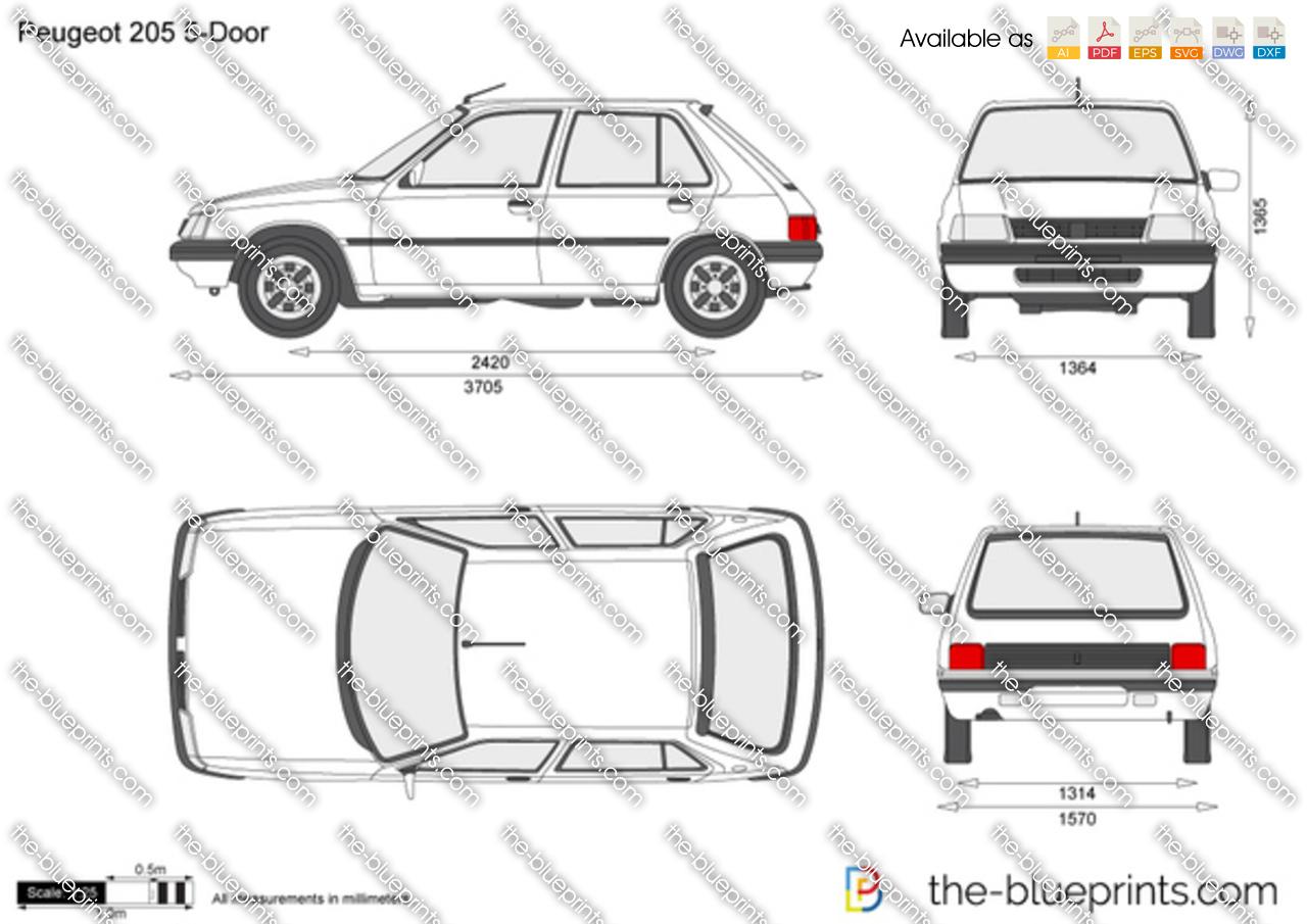 Peugeot 205 5 Door Vector Drawing