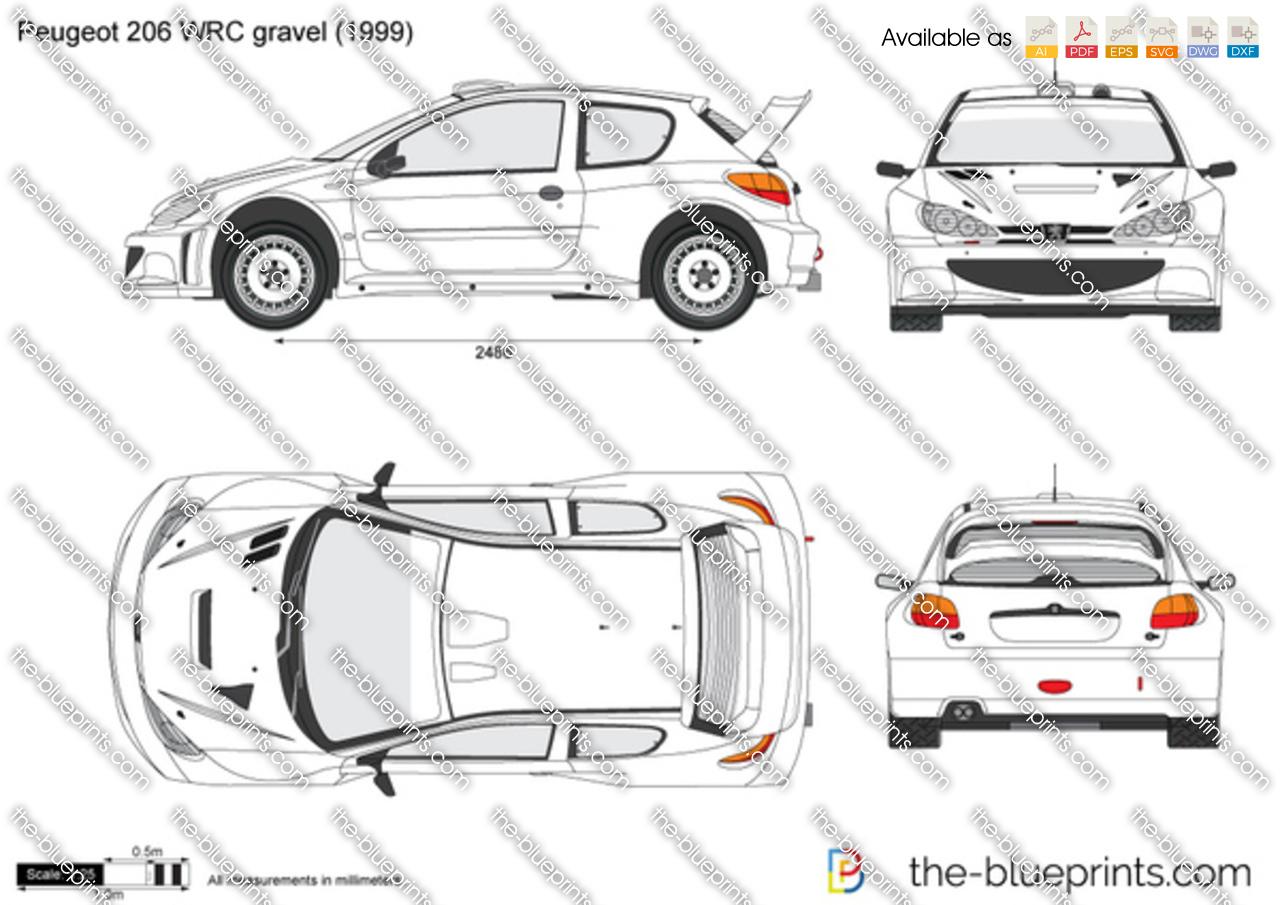 Peugeot 206 WRC gravel vector drawing