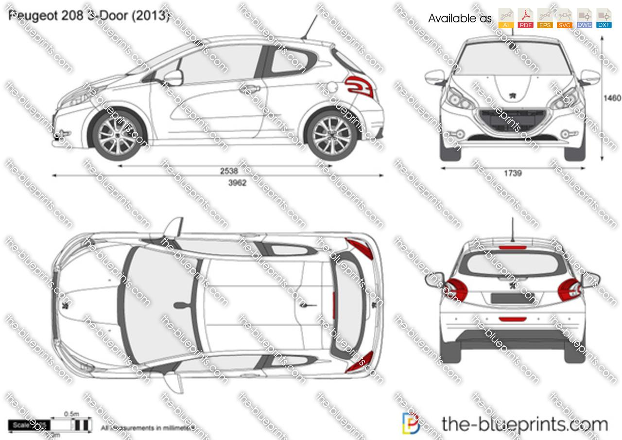 Peugeot 208 3-Door vector drawing