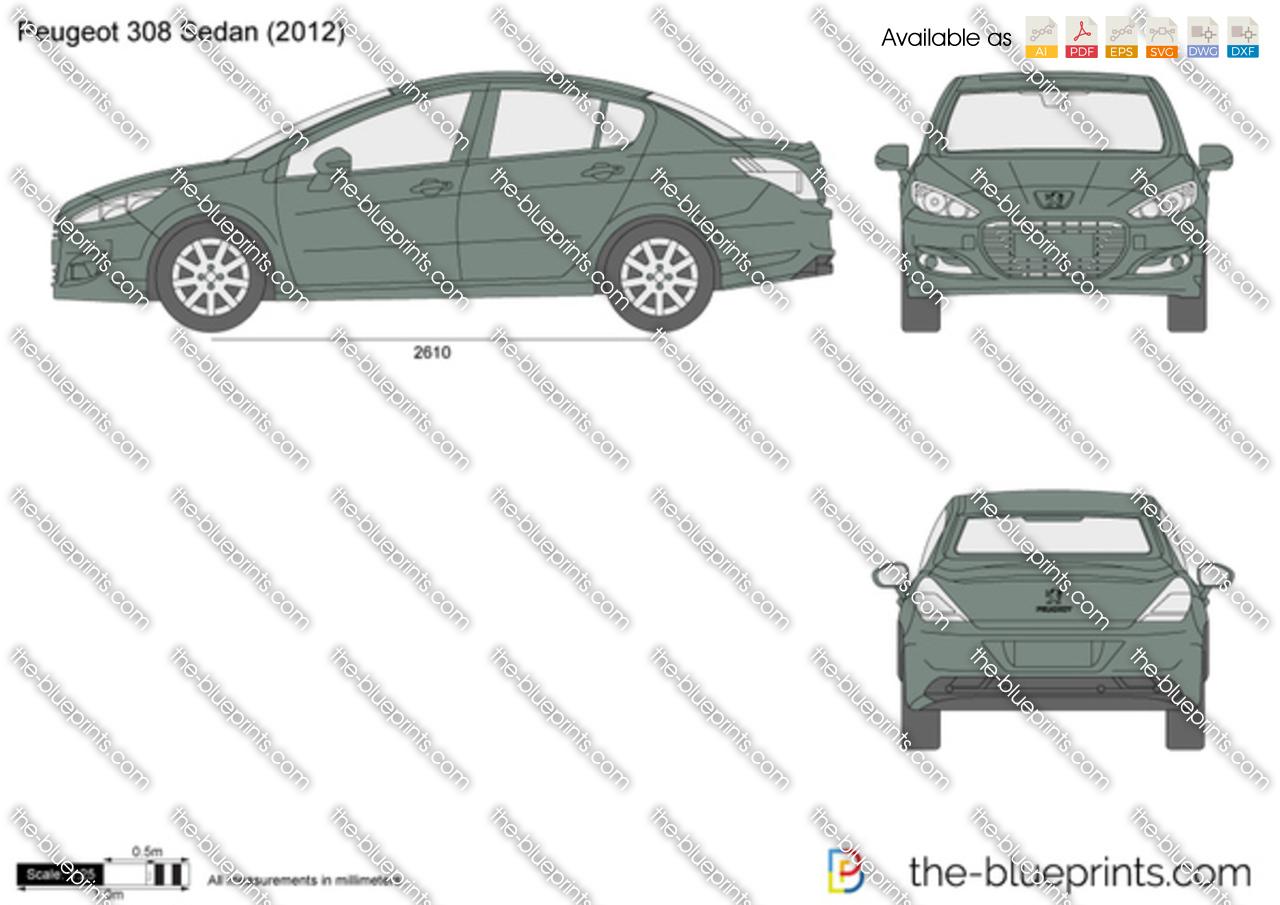 Peugeot 308 Sedan Vector Drawing
