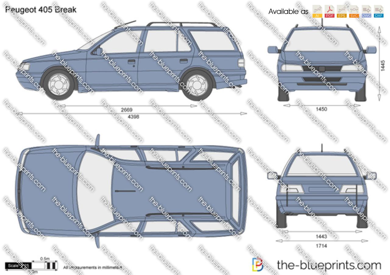 Peugeot 405 Break vector drawing