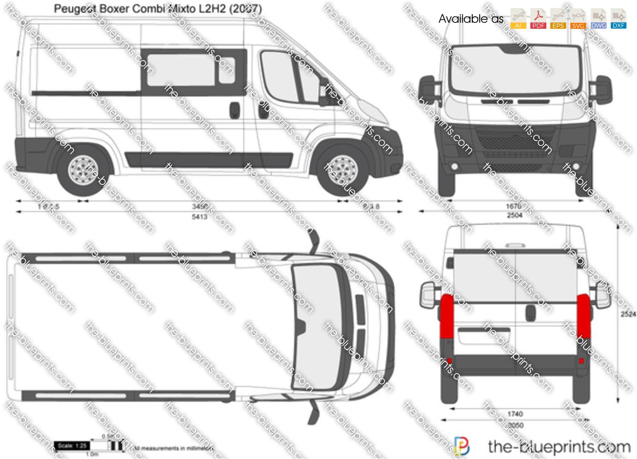 Peugeot Boxer Combi Mixto L2H2 vector drawing