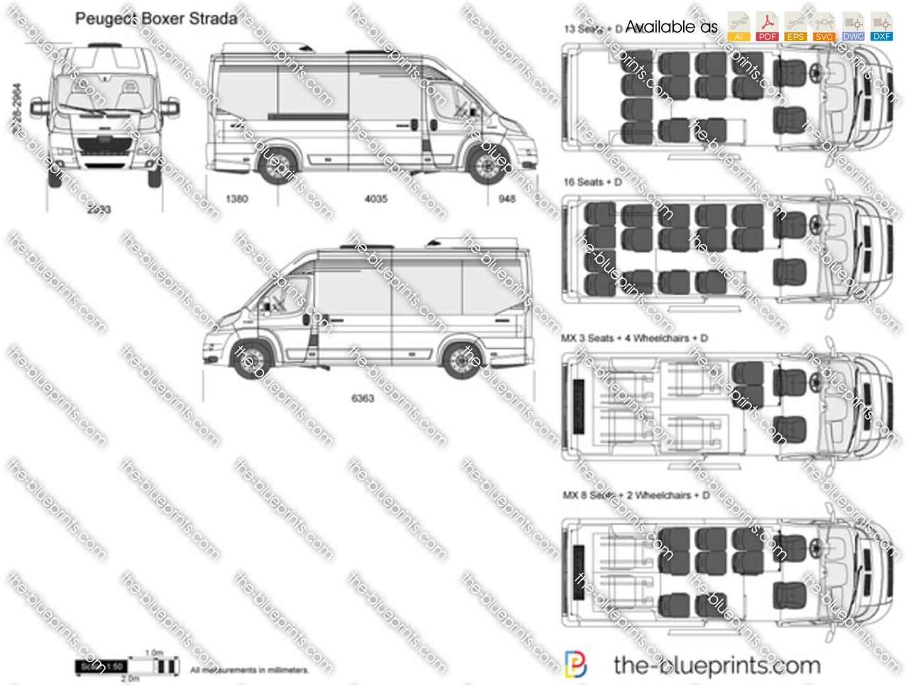 Peugeot Boxer Strada vector drawing