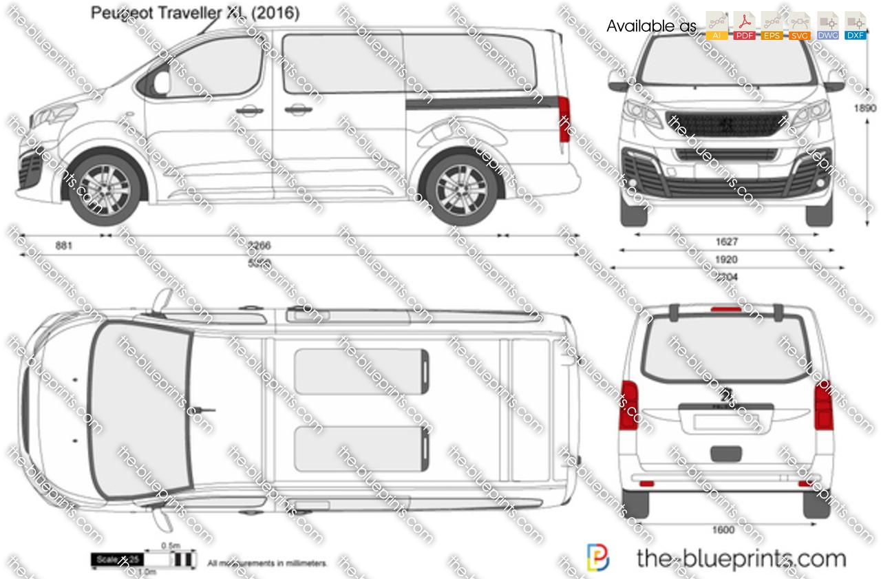 Peugeot Traveller XL vector drawing