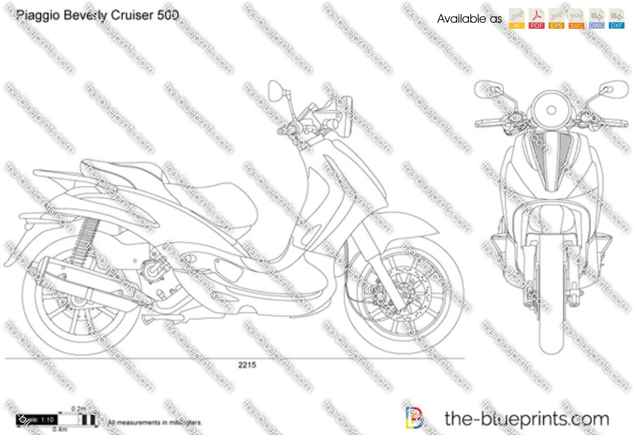 Piaggio Beverly Cruiser 500 vector drawing