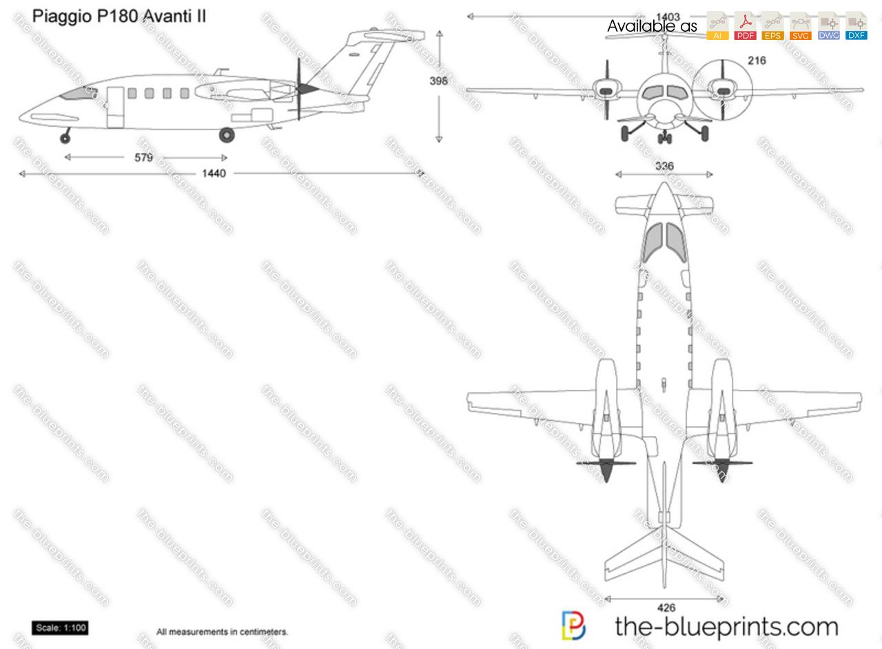 Piaggio P180 Avanti II vector drawing