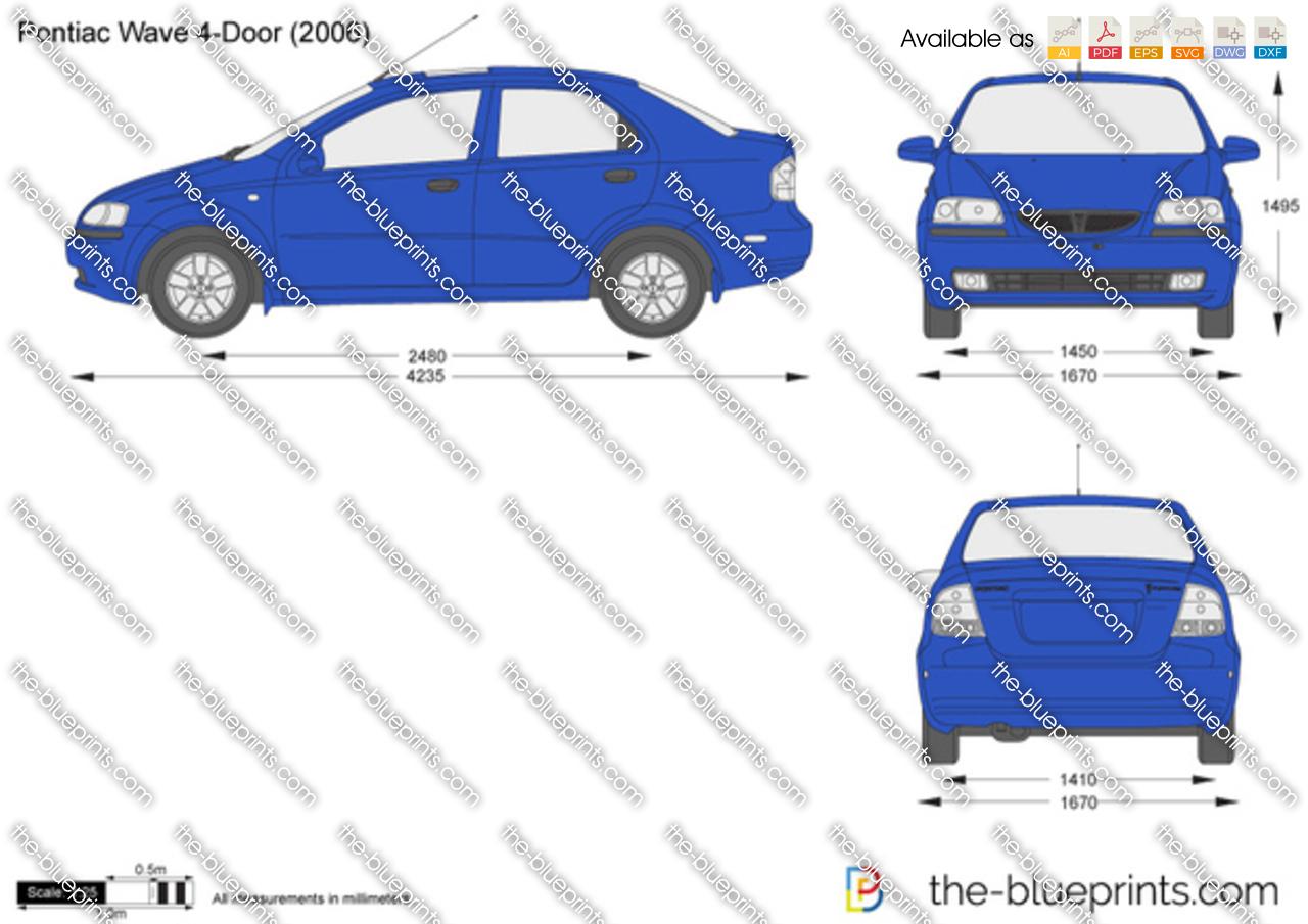 Pontiac G3 Wave 4 Door Vector Drawing