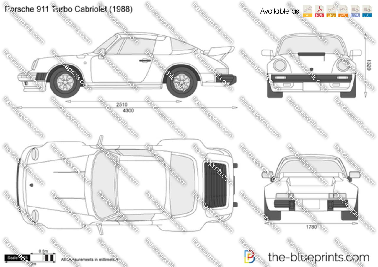 Porsche 911 Turbo Cabriolet vector drawing