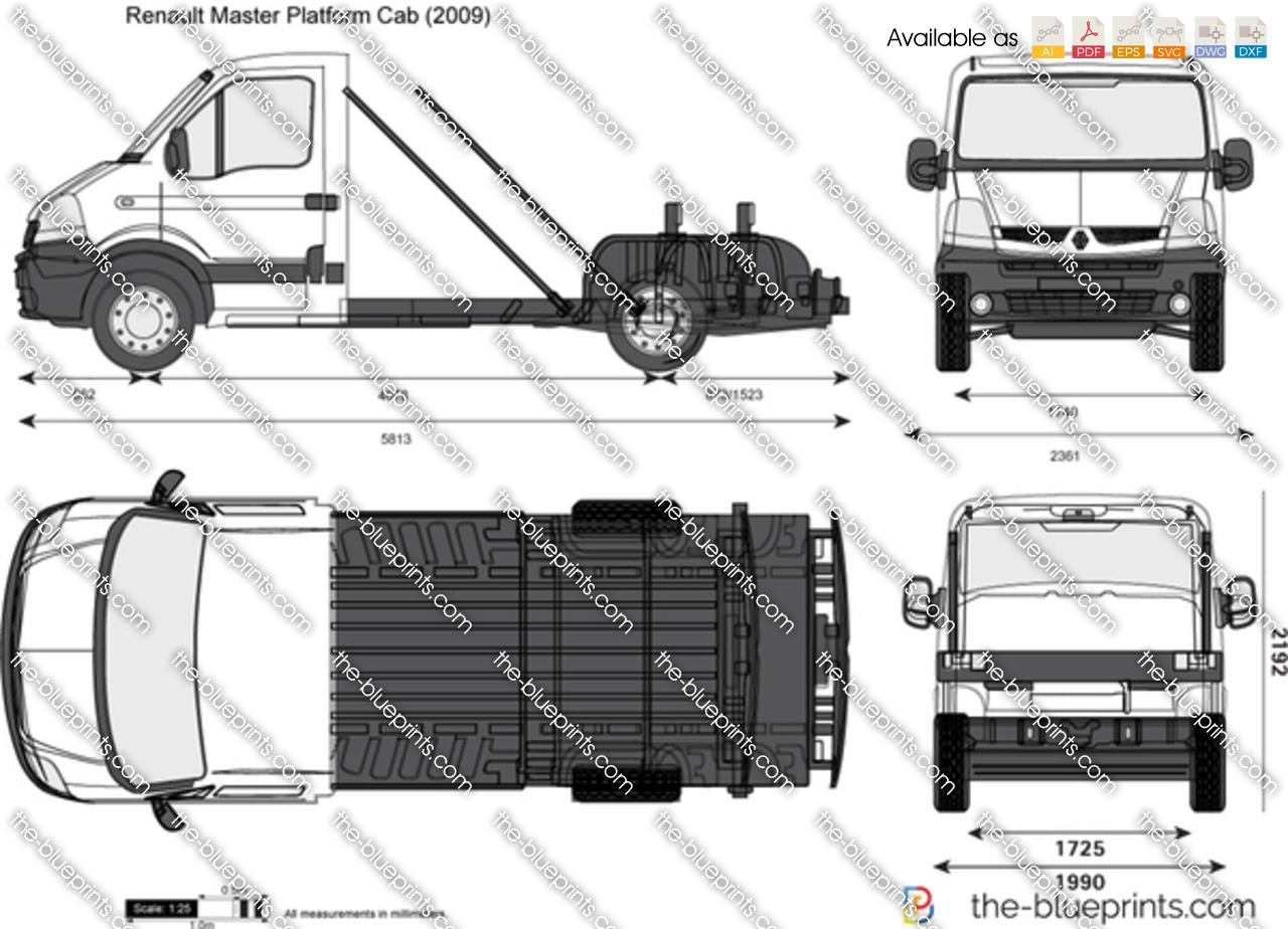 Renault Master Platform Cab vector drawing