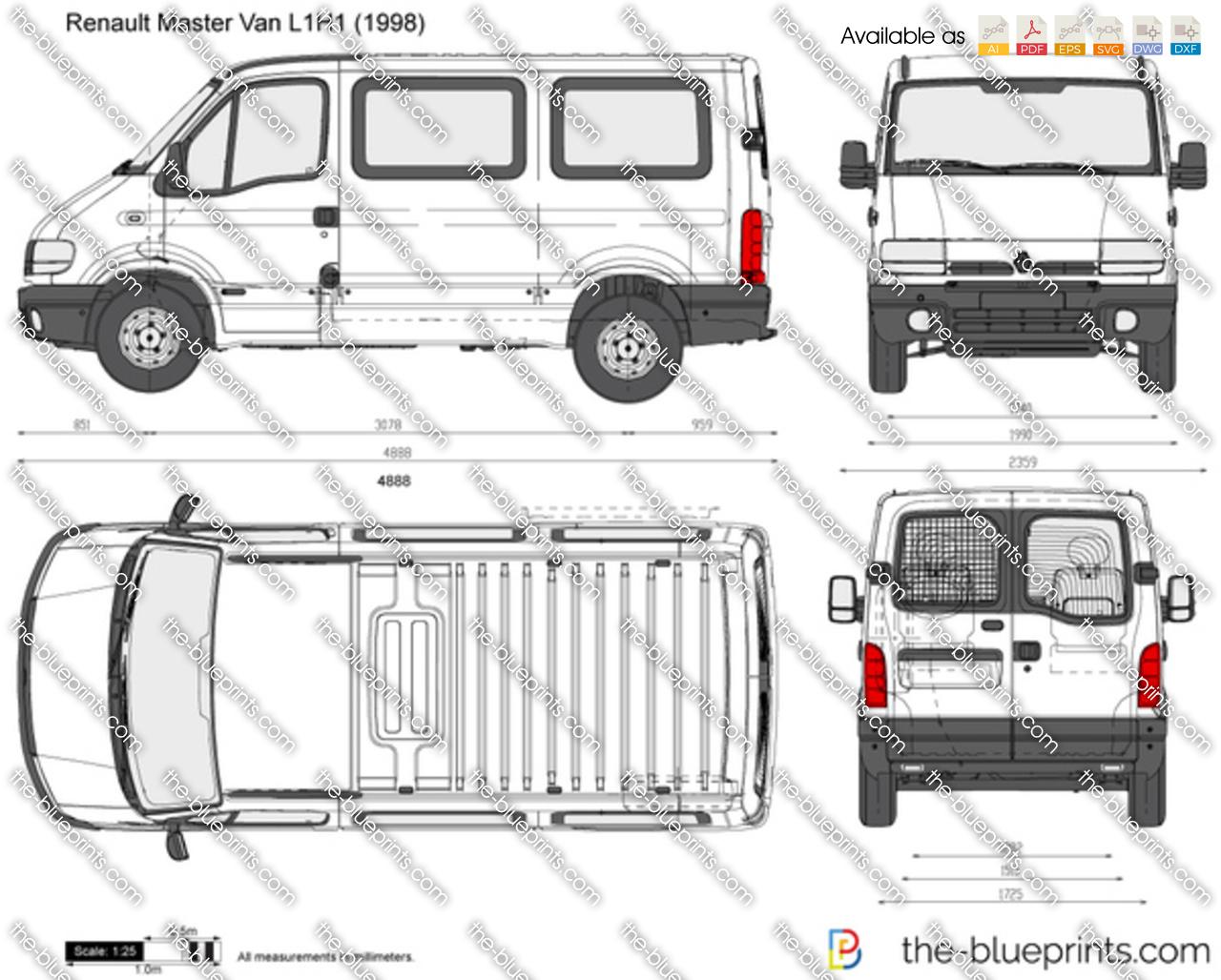 Renault Master Van L1H1 vector drawing