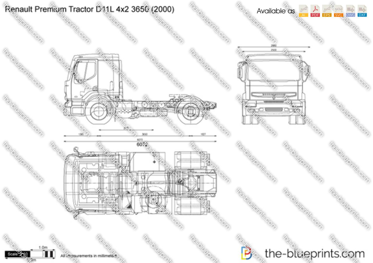 Renault Premium Tractor D11L 4x2 3650 vector drawing