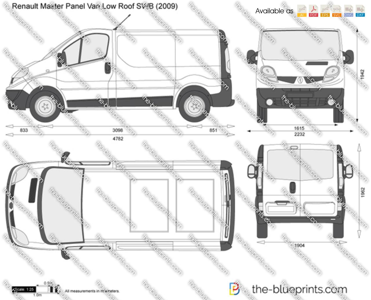 Renault Trafic Panel Van Low Roof SWB vector drawing