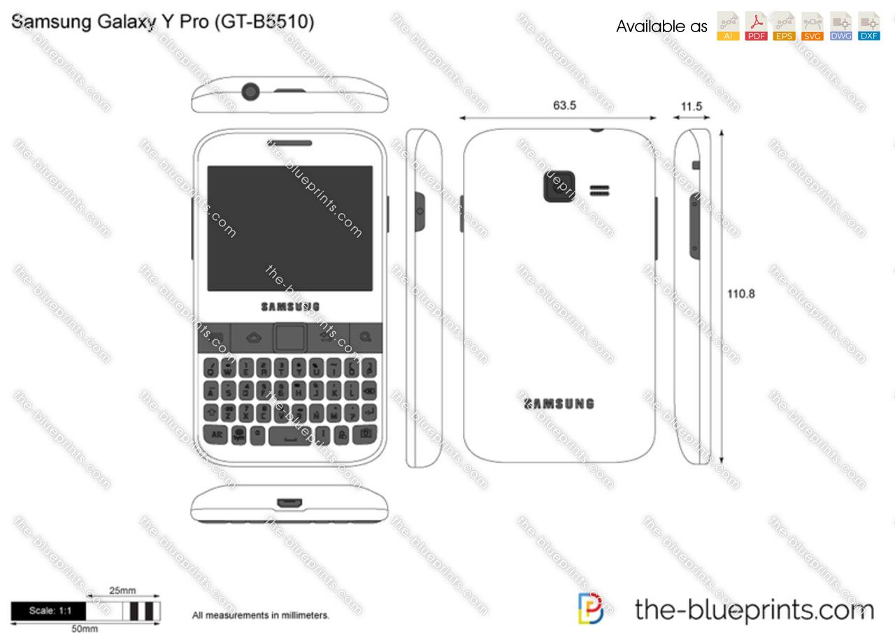 Samsung Galaxy Y Pro (GT-B5510) vector drawing
