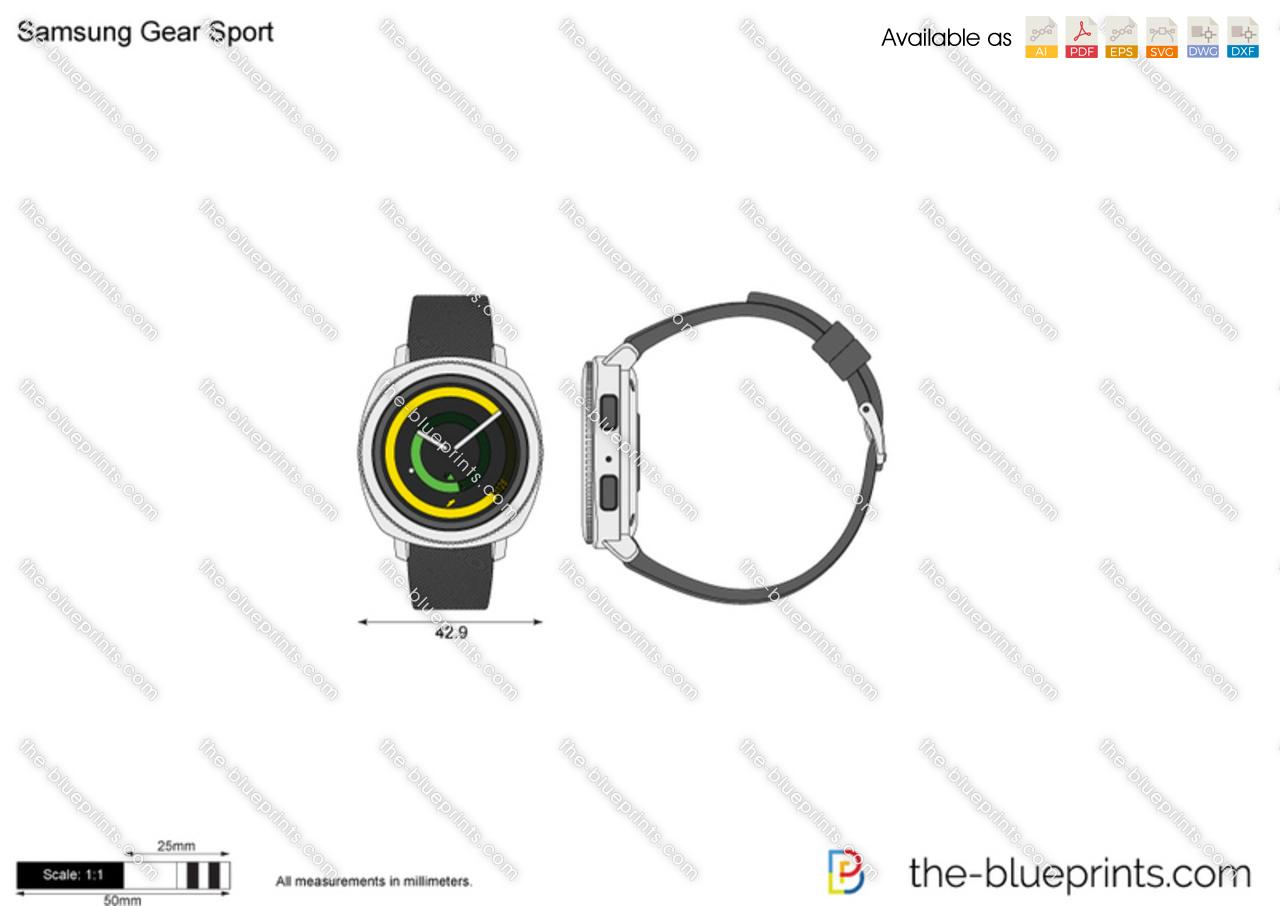 Samsung Gear Sport vector drawing