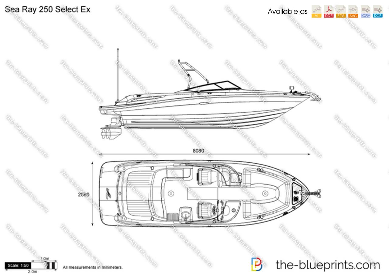 Sea Ray 250 Select Ex vector drawing