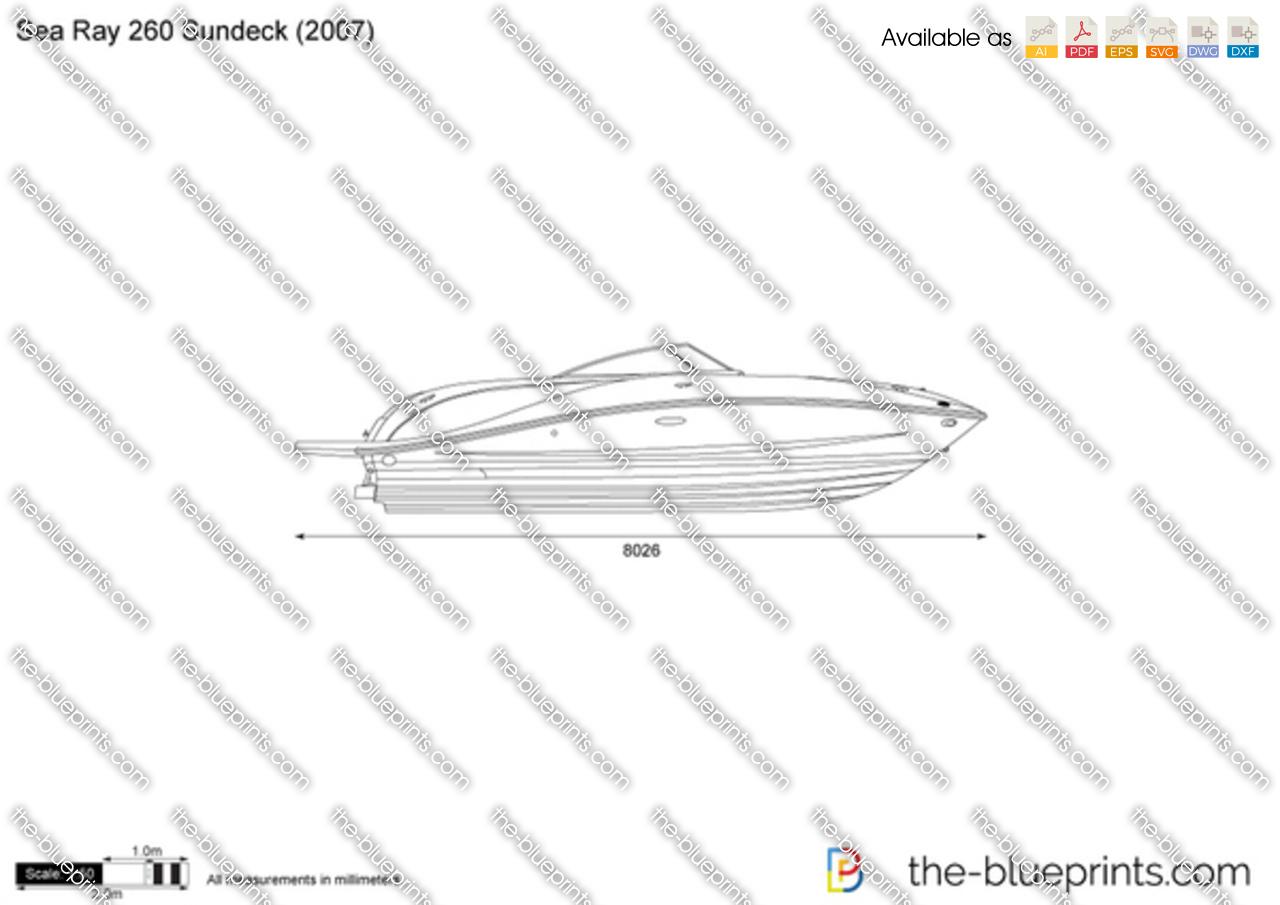 Sea Ray 260 Sundeck vector drawing