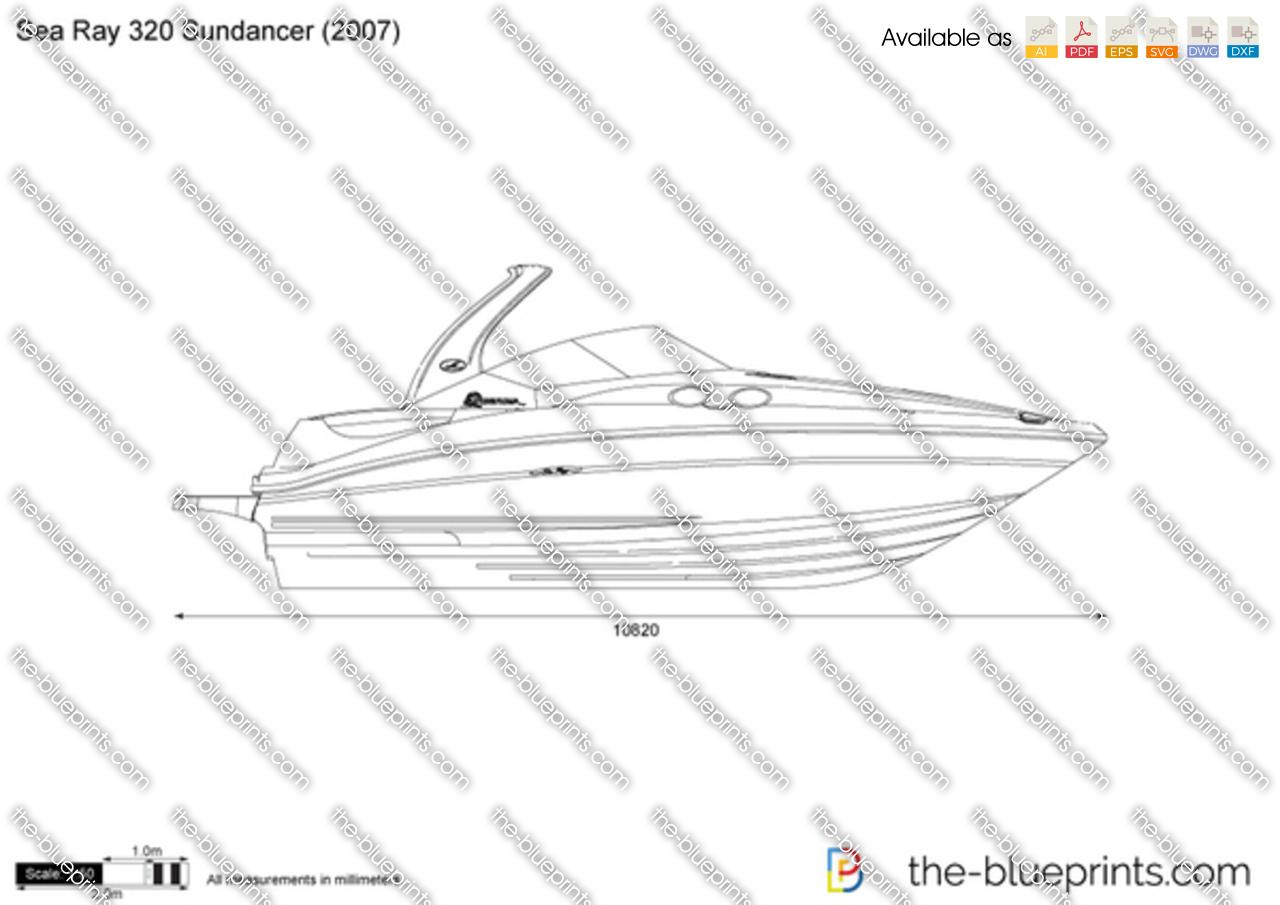 Sea Ray 320 Sundancer vector drawing