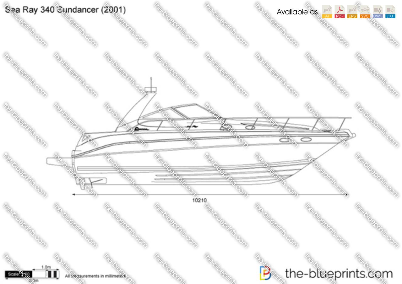 Sea Ray 340 Sundancer vector drawing