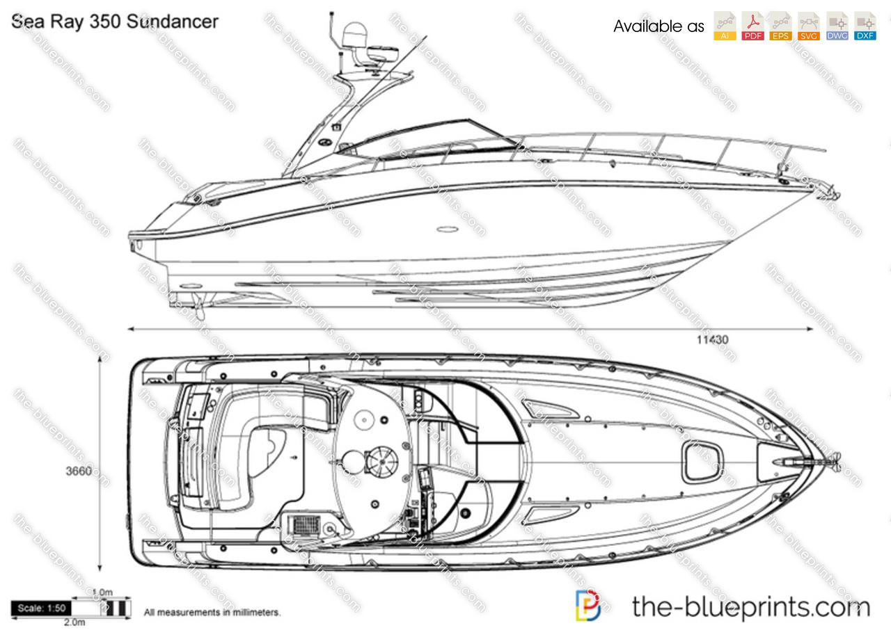 Sea Ray 350 Sundancer vector drawing