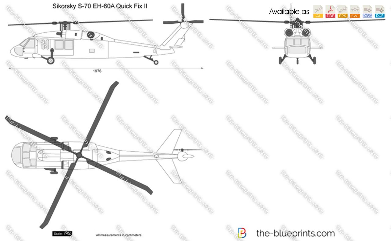 Sikorsky S-70 EH-60A Quick Fix II vector drawing