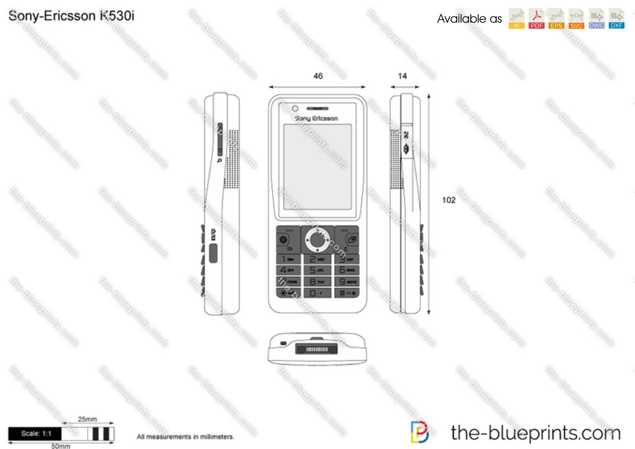 Sony-Ericsson K530i vector drawing