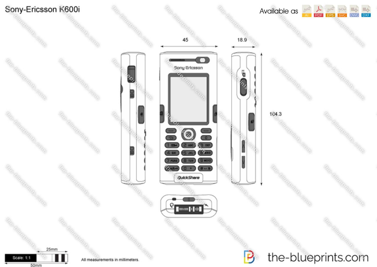 Sony-Ericsson K600i vector drawing