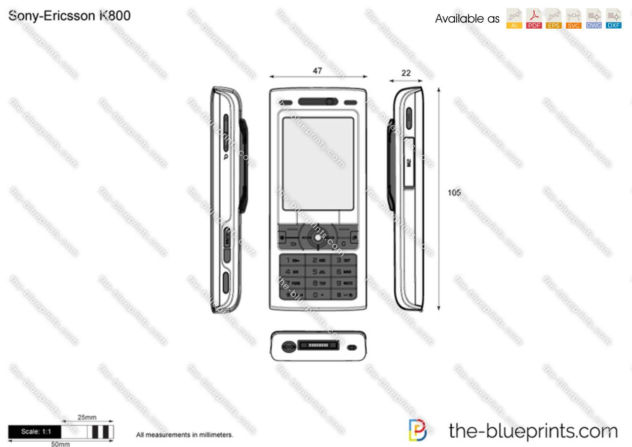 Sony-Ericsson K800 vector drawing