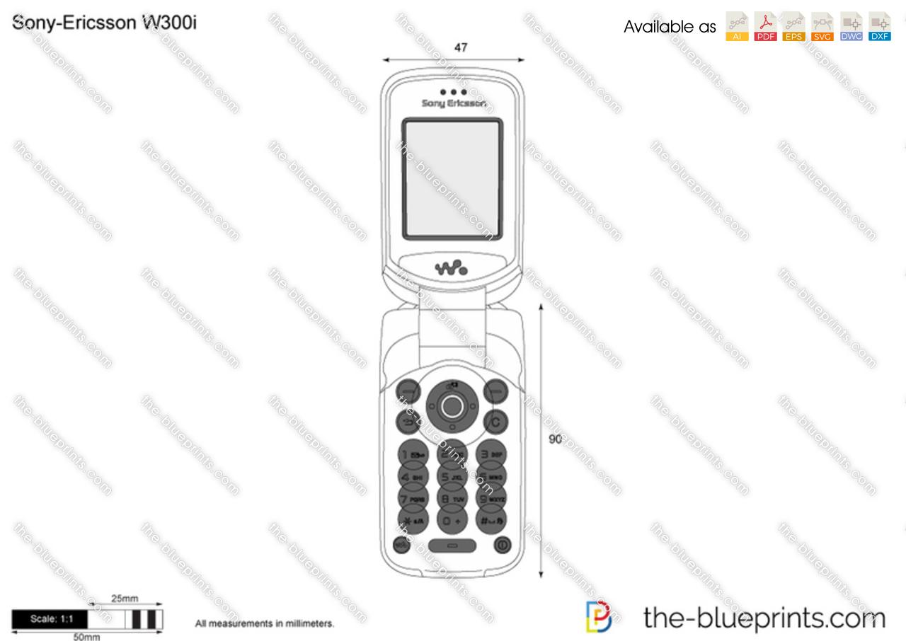 Sony-Ericsson W300i vector drawing