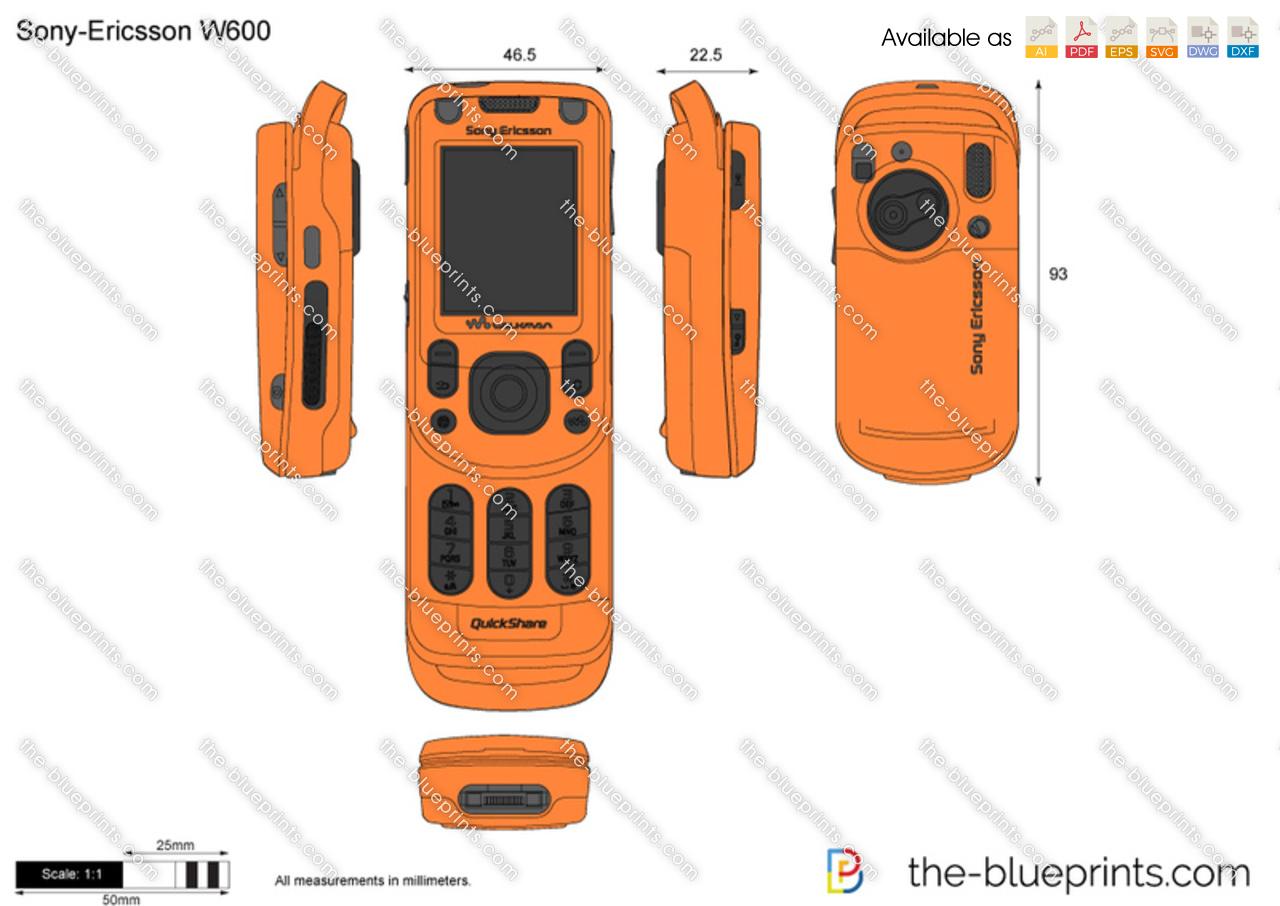 Sony-Ericsson W600 vector drawing