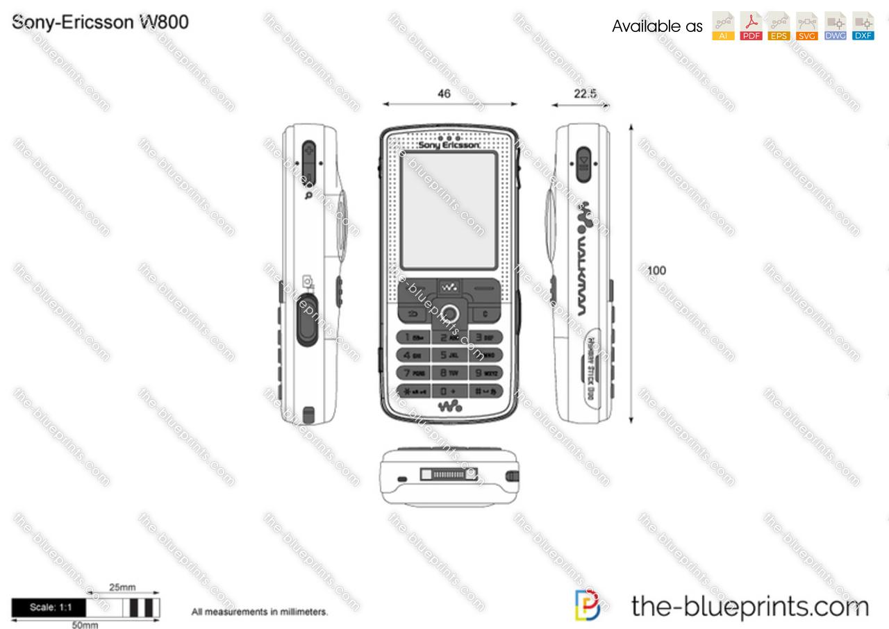 Sony-Ericsson W800 vector drawing