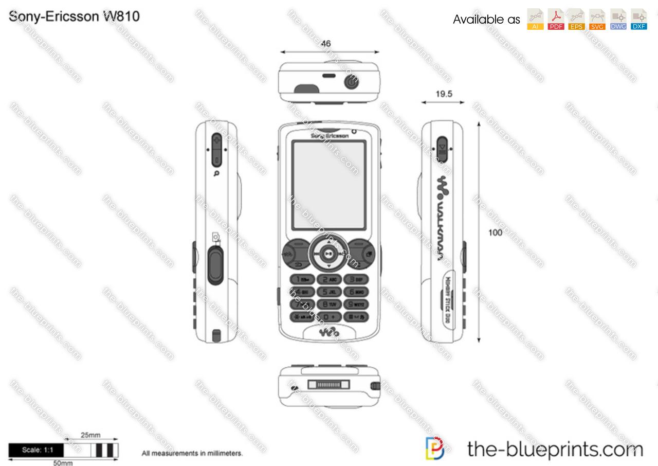 Sony-Ericsson W810 vector drawing