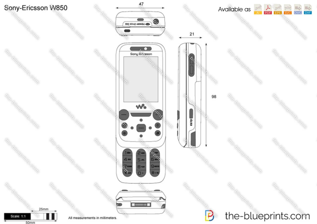 Sony-Ericsson W850 vector drawing