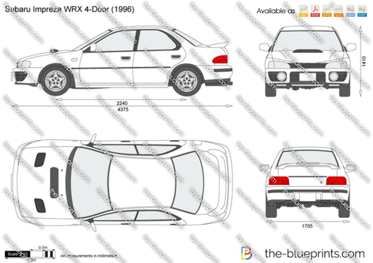 Subaru Impreza WRX 4-Door vector drawing